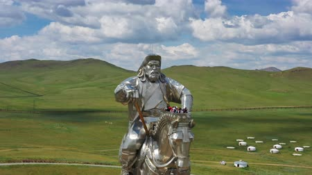 王 : Aerial view of huge equestrian statue of Genghis Khan in the steppe, Mongolia, Ulaanbaatar, 4k