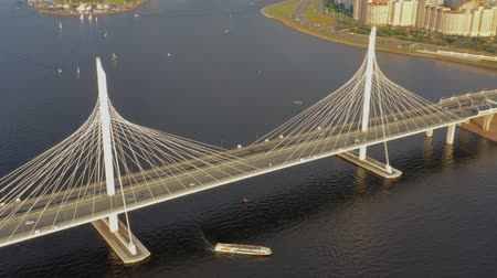 neva river : Aerial around view of cable-stayed bridge Stock Footage