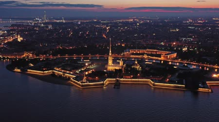 bástya : Aerial night view of Peter and Paul Fortress Stock mozgókép