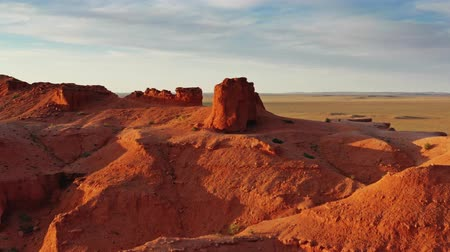 dinosaur : Aerial view of Bayanzag flaming cliffs in Mongolia
