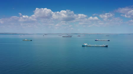 fleet : Aerial view of many cargo ships in sea Stock Footage