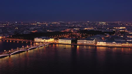 bástya : Aerial night view panorama of Saint-Petersburg Stock mozgókép