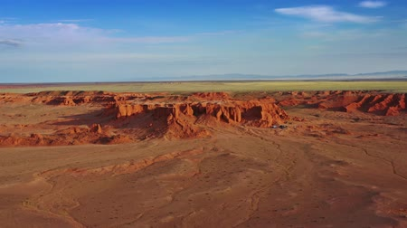 sediments : Aerial view of Bayanzag flaming cliffs in Mongolia