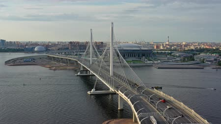 stayed : Aerial view of cable-stayed bridge and new stadium