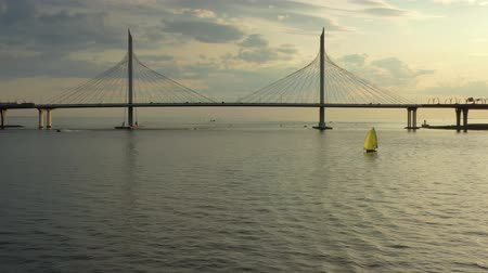 st petersburg : Aerial of cable-stayed bridge in St.Petersburg Stock Footage