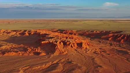 moğolistan : Aerial view of Bayanzag flaming cliffs in Mongolia