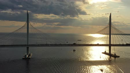 stayed : Aerial of cable-stayed bridge in St.Petersburg Stock Footage