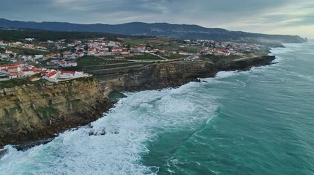 cape town : Aerial of coastal town Azenhas do Mar in Portugal Stock Footage