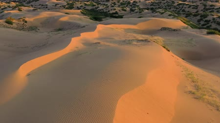 moğolistan : Aerial top view on sand dunes in desert at sunrise