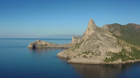 krím : Aerial view of moutains rocks and sea in Crimea