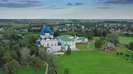 bell tower : Aerial view on kremlin and boat in Suzdal Russia Stock Footage