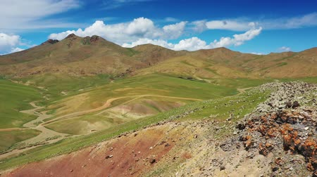 cow flies : Aerial mountains landscape in Orkhon valley