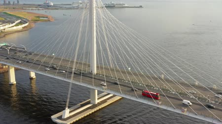 cable bridge : Aerial view of cable-stayed bridge with cars