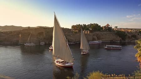 aswan : felucca boats on Nile river in Aswan Egypt