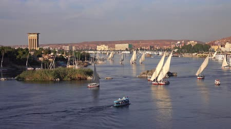 nílus : felucca boats on Nile river in Aswan Egypt