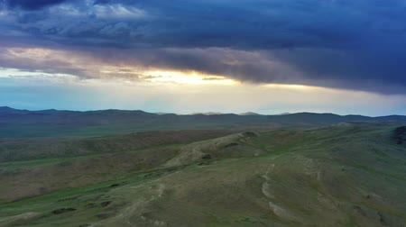 moğolistan : Aerial view of mountains at sunset in Mongolia