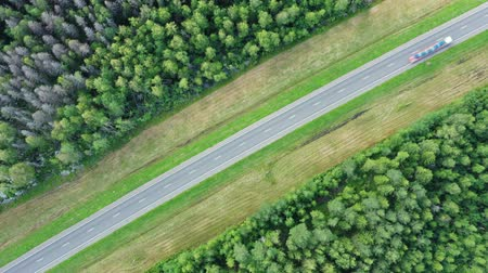 pista de corrida : Aerial top view on country road in forest