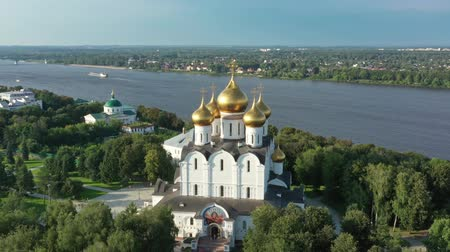 assumption : Aerial view of church in Yaroslavl Russia Stock Footage