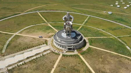 imperador : Aerial around view of statue of Genghis Khan Stock Footage