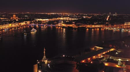 st petersburg : Aerial night view of Peter and Paul Fortress Stock Footage