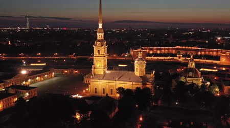 peter and paul fortress : Aerial night view of Peter and Paul Fortress Stock Footage