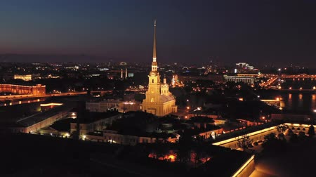 neva river : Aerial night view of Peter and Paul Fortress Stock Footage