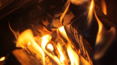 alevler : fire in the fireplace Stok Video