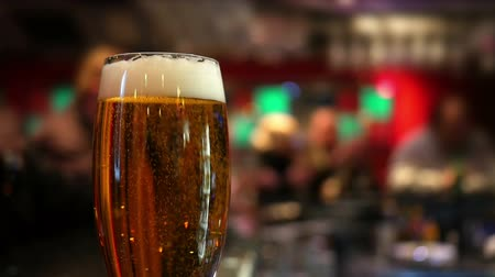 cervejaria : Pint glass of lager on pub table Stock Footage