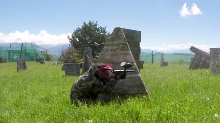 paintball : paintball sport player in military uniform