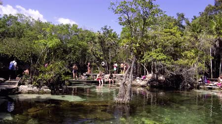 azul : Cenote Azul, people swimming in crystal clear waters, Tulum Mexico
