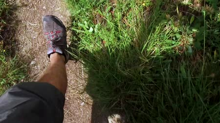 Walking on hiking path, POV, High Angle View perspective