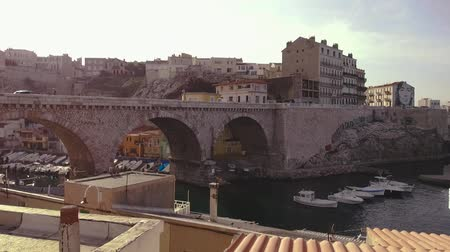 view of the bridge of Vallon des Auffes in Marseille city France Vídeos