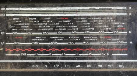 Front panel of the old radio with city names. Stock Footage