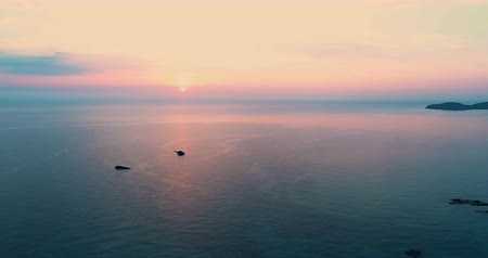 ações : droneshot of a beautiful ibiza sunset