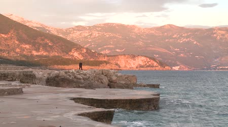 Montenegro, sunset, surf, sea, nature, waves, stone, rocks, beach, tree sunset on sea in Montenegro