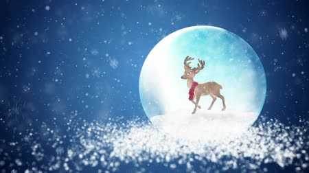 pré natal : Christmas snow globe with deer and falling snowflakes