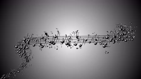 notes : Animated background with musical notes, Music notes flowing, Flowing, flying stream of Music Notes Stock Footage