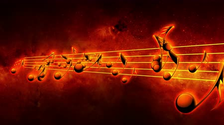 notes : Animated background with musical notes, Music notes flowing, flying stream of Music Notes Stock Footage