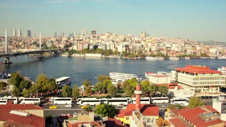 roof Valide Khan, Galata Bridge and Yeni Cami The New Mosque in Istanbul, Turkey. Stock Footage