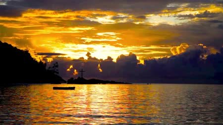 Sunset over the Sea, the Indian Ocean Seychelles Stock Footage