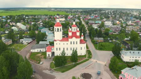 bell tower : The Nativity Church, Totma, Russia. Architectural forms reminiscent of a ship. view from above.