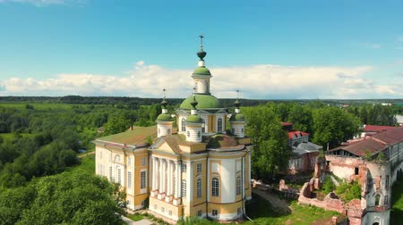 Cathedral of the Ascension of the Lord. Spaso-Sumorin Monastery. Totma. Vologda Region. Russia. view in flight.