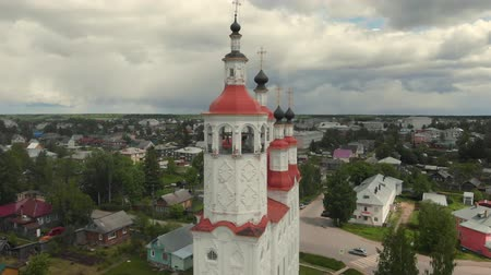 flight of the camera over the ancient Orthodox Church. The Nativity Church, Totma, Russia. Architectural forms reminiscent of a ship. view from above.
