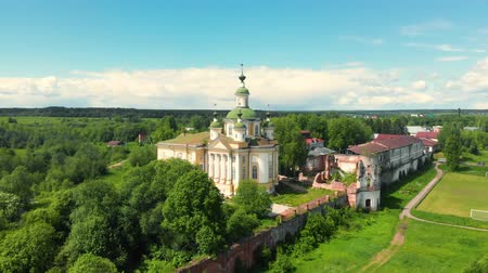 flight of the camera over the ancient Orthodox Church. Cathedral of the Ascension of the Lord. Spaso-Sumorin Monastery. Totma. Vologda Region. Russia. view in flight. Stock Footage