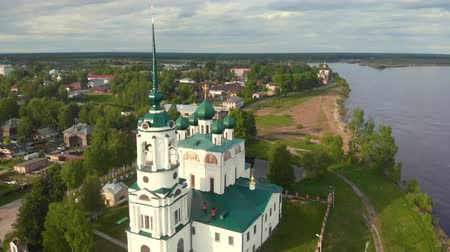 steeples : Flight of the camera over the ancient Orthodox Church. Ancient Annunciation Cathedral (1560-1584) on on the old trade route passing from Totma to Arkhangelsk. Solvychegodsk.