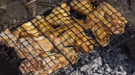 špejle : Marinated Chicken and beef kebab on grill rack