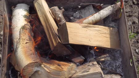 popel : flaring up barbecue grill fire from birch wood