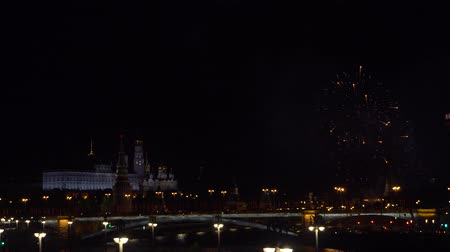 sky bomb : Fireworks in the center of Moscow at the Kremlin
