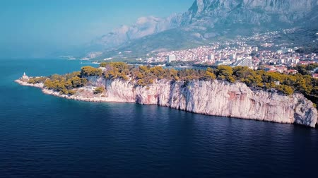 адриатический : Europe. Croatia. Makarska.View from the drone in 4K on the Riviera of the city of Makarska
