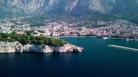 dalmácie : Europe. Croatia. Makarska.View from the drone in 4K on the Riviera of the city of Makarska